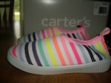 Nib Toddler Girls Size 11 Carter's Floatie-G Water Shoes Slip On Bright Stripes