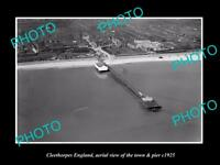 OLD LARGE HISTORIC PHOTO OF CLEETHORPES ENGLAND, VIEW OF THE TOWN & PIER c1925
