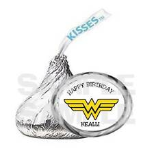108  PERSONALIZED WONDER WOMAN Super Hero KISS LABELS Girl Birthday Party