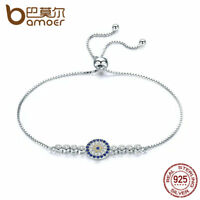 Bamoer New S925 Sterling Silver Bracelet With Clear CZ Round Charm Women Jewelry