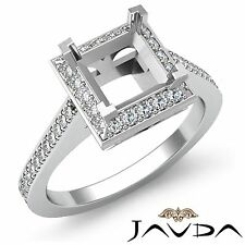 Princess Cut Semi Mount Natural Halo Pave Diamond Engagement Platinum 0.5Ct Ring
