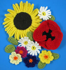 CROCHET FLOWERS PATTERN (instruction leaflet) SUNFLOWER POPPY DAISY PRIMULA p36