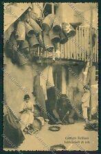 Palermo Costumi Siciliani Fabbrica Reti ABRASA cartolina QQ0899