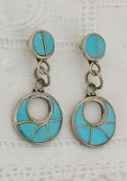 Vintage Navajo Turquoise Earrings Montoya Inlay Staple Sterling Silver Drop Stud