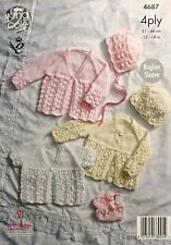 KNITTING PATTERN Baby Matinee Jackets, Bootees, Bonnet & Hat 4ply 4687