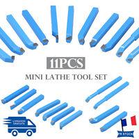 11 Pièces Outils de Tournage en Carbure Brasé 8x8 mm Jeu d'Outils Mini Tour