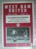 1964 Leg Div 1- WEST HAM UNITED v WOLVERHAMPTON WANDERERS, 7 Sept (Bobby Moore)