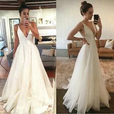 Beach Simple Sleeveless Wedding Dresses BOHO Bridal Gowns Sexy V-neck Backless