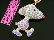 Betsey Johnson Charm Pendant Gold Chain Rhinestone Cute Dog Necklace