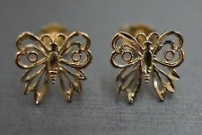 Beautiful 14K Solid Yellow Gold D-Cut Butterfly Stud Earrings.