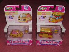 2 Shopkins Cutie Cars #2 Choc Chip Racer AND #20 Bumpy Burger QT cars