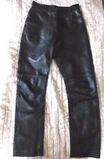 Vintage Black Leather Trousers narrow leg UK12 80s 90s Gothic Grunge Biker 29x29