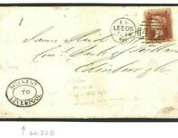 GB Superb Oval *MISSENT TO LIVERPOOL* Leeds Penny Red Cover 1858 Edinburgh 628a
