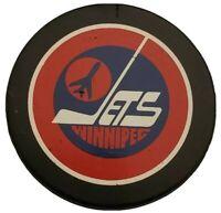 Holes! WINNIPEG JETS APPROVED NHL GAME PUCK VINTAGE VICEROY MFG. 🇨🇦 INGLASCO
