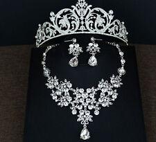 New Fashion Rhinestone Necklace Ear Crown Set For Wedding Tiara Headband Bridal