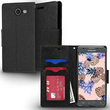 BLACK FOLIO CASE W/MAGNETIC FLAP+ID SLOT COVER FOR SAMSUNG EXPRESS PRIME 2