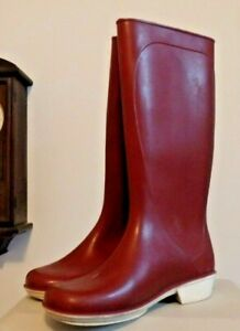 Vintage Burgundy Color  French Rain Rubber Boots Wellies UK 7 Euro 41 US 9  GUC