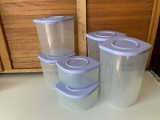 TUPPERWARE FRESH N COOL STACKABLE SET 6 PLASTIC CONTAINERS 6, LIGHTLY USED LILAC