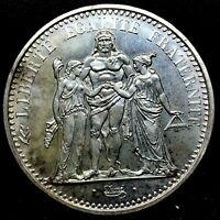 1965 FRANCE Large HERCULES Motto Antique Silver French 10 FRANCS Coin. KM#932