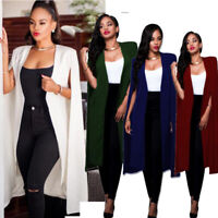 Fashion Women Long Coat Cloak Cape Blazer Suit Jacket Trench Poncho Outwear Tops
