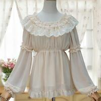 Long-sleeved Chiffon Lolita Shirt Blouse White Black Beige for Girls Ladies New