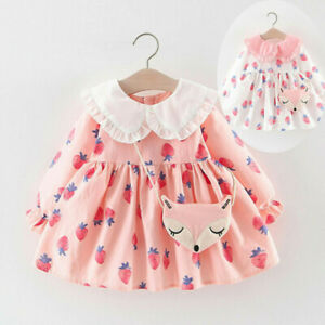 Toddler Baby Kids Girls Ruffles Doll Collar Strawberry Dresses Casual Clothes