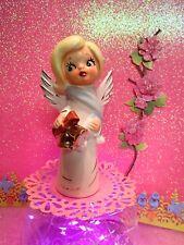 New listing Vtg Christmas Angel W Gold Caroling Bells Blue Muffler Scarf W White Pom Poms