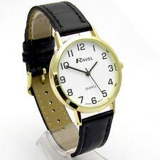 Ravel Mens Super-Clear Easy Read Quartz Watch Black Band White Face R0102.01.1A