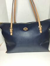 Tommy Hilfiger Large Black Shoulder Tote Shopper Bag Purse Handbag (Navy Blue)