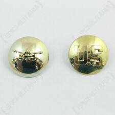 US Armored Cavalry and Monogram Collar Discs - Gold American Armoured Uniform