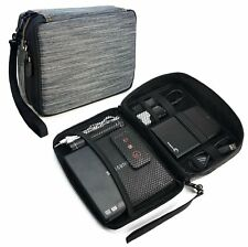 TUFF LUV Electronics Accessories Travel Organizer / Gadget Bag - Grey Stripe