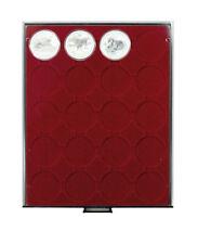 Lindner 2943 Münzenbox-rauchglas / dunkelrote Einlage