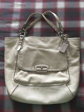 COACH Bag-Kristin Pinnacle White Pearl Shimmer Leather North South Tote*F19385*