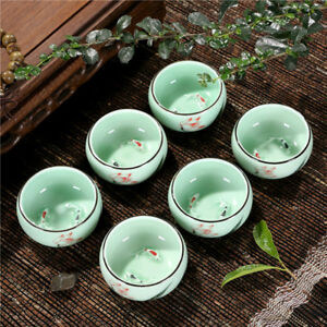6pcs/lot porcelain handpainted tea cup fish relief cup of tea floral painting