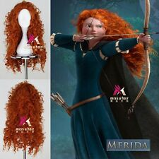 Brave Merida Orange Color Long Curly Anime Cosplay Party Wig wigh Free Wig Cap
