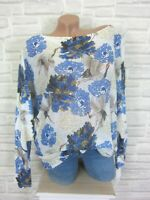 Oversize Strick Shirt Pulli Pullover Tunika Blume Print 38 40 42 Weiß E888 Italy