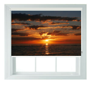 Sunset Beach Sea View Printed Photo Black Out Roller Blinds 2 3 4 5 6ft
