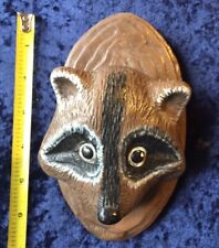 Vintage 70s Ceramic Wall Mount Raccoon Head Letter Holder w/ball holder