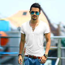 Fashion Men Cotton Short Sleeve V-Neck Solid Casual Slim Fit T-shirt Tops Tee