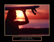 VISION Woman Surfing at Sunrise Motivational POSTER Print