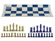 """Navy & Khaki Gold Chess Pieces & 20"""" Navy Vinyl Board -Single Weighted Chess Set"""