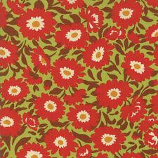 Moda Stoff Glückstag Lazy Daisy Kleeblatt Mohn rot-je 1/4 Meter