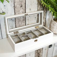 Mele & Co Men's 5 Watch Box White Wooden Glass Locking Lock Display Case Gift