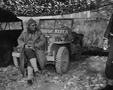 WW2 WWII Photo World War Two US Army General Theodore Roosevelt on Jeep  / 3154