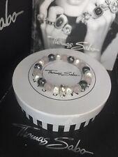 Genuine Thomas Sabo 'Pink, White, Grey' Charm Bracelet RRP £34 Size M W/Gift Box