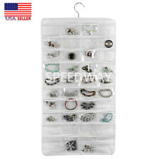 Hanging Jewelry Organizer Necklace Storage Holder Travel Bag 80 pockets White