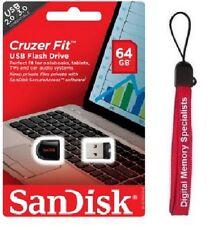 SanDisk 64GB USB CZ33 Cruzer Fit 64G USB 2.0 Pen Drive SDCZ33-064G +Lanyard