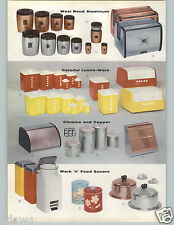 1957 PAPER AD 2 Pg Lustro-Ware Canister Breadbox Red Yellow Styron Plastic