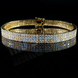 3 Row AAA Simulated Diamond Bling Out Iced Gold Silver Gunmetal Tennis Bracelet
