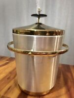 Beautiful Mid-Century Brass Insulated Ice Bucket Bowl Gold and Black, Nice!
